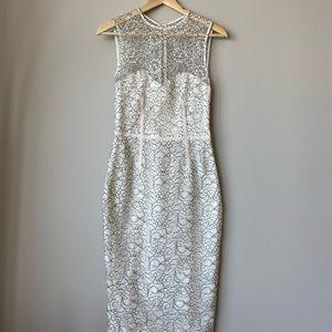 JILL STUART White and Black Lace Dress